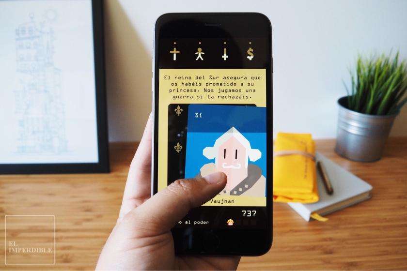Reigns videojuego simulador de juego de tronos para el móvil