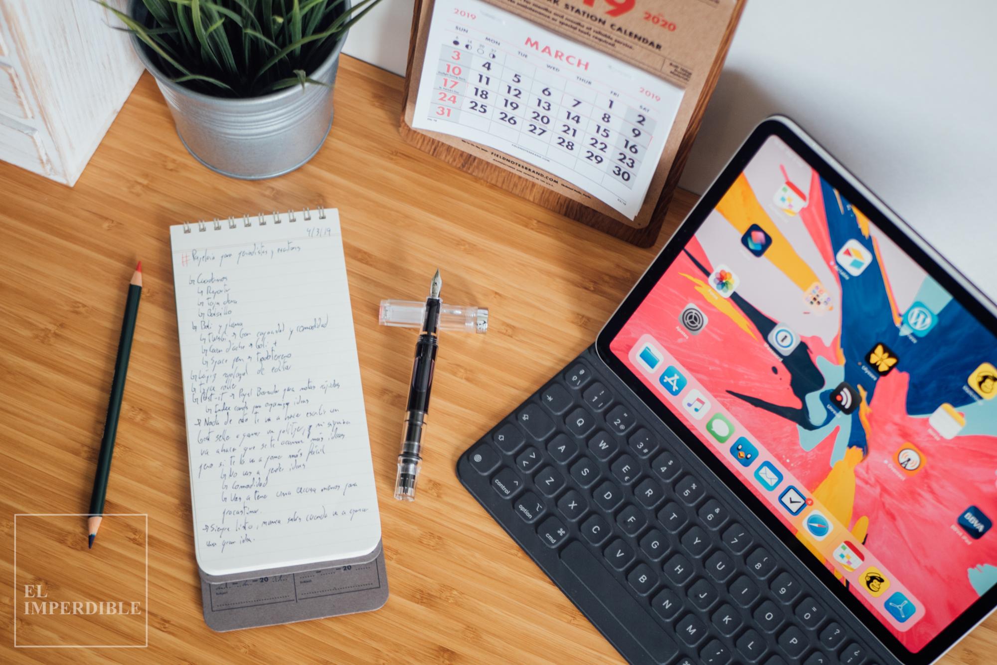 Kit de papelería para escritores iPad Pro Twsbi ECO Clear Field Notes